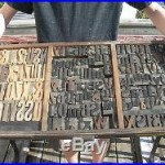 155pcs Antique Wood Carved Printing Blocks & Tray Numbers-Letters etc Full tray
