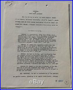 1951 Agreement Signed By Howard Hughes & Noah Dietrich 11 M. For Twa Aircraft