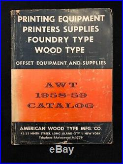 1958-59 Printers Supplies Catalog American Wood Type Equipment For Printing NY