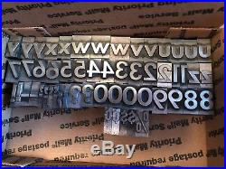 3/4 inch Metal Letterpress Type, upper and lower case, numbers and punctuation