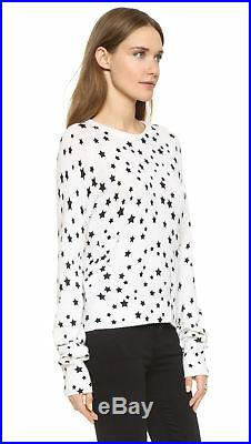 EQUIPMENT $320 Ryder Black Ivory Off White Cashmere Knit Star Print Sweater XS