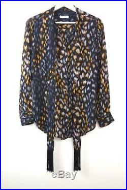 EQUIPMENT Silk Blouse Designer Pussy Bow Leopard Print Blouse by Equipment XS