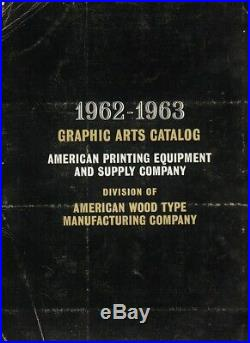 Exceptional 1962-1963 American Printing Equipment & Supply Co, Catalog