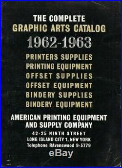 Exceptional 1962-1963 American Printing Offset Equipment & Supply Co, Catalog