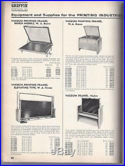 Griffin Brothers inc catalog equipment & supplies for printing industry sc 1965