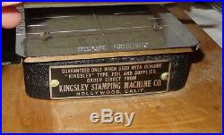KINGSLEY HOT FOIL STAMPING MACHINE CO. NO. 21626, HOLLYWOOD CALIF