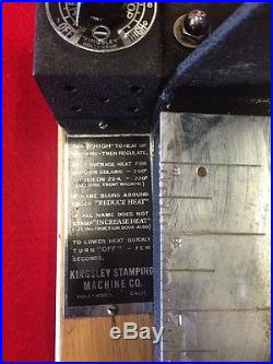Kingsley Stamping Machine Co. Hollywood Ca. Stamping Machine Serial 17218