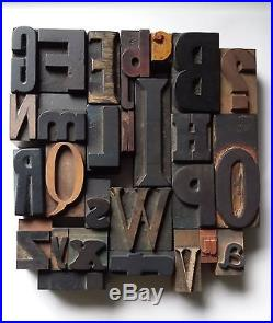 Letterpress wood type mixed font ALPHABET, wooden printing block letters, fount