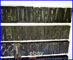 Wood Type 3 1/4, 58 Pc. Set, Letters+ Punctuation, Well Used Condition