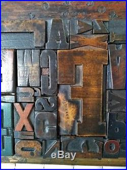 Wooden Letterpress Mixed Type on a Metal Plate within Brass Frame