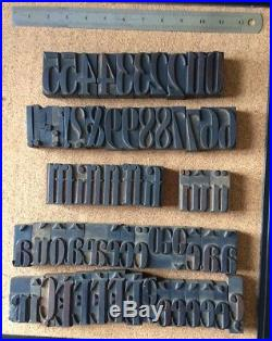Wooden Letterpress typeface Wood printing block type font 54mm 200+ letters